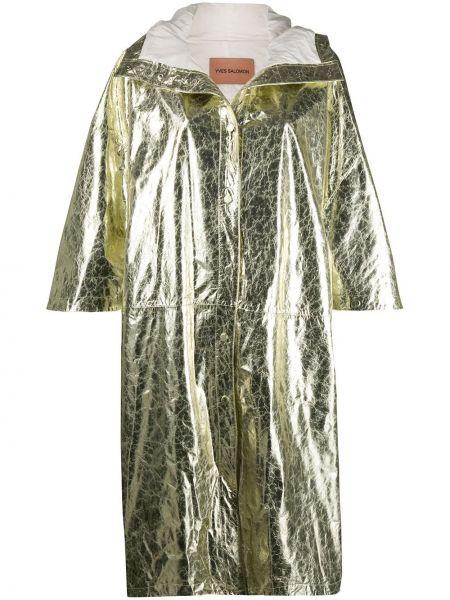 Свободное кожаное пальто классическое с капюшоном Yves Salomon