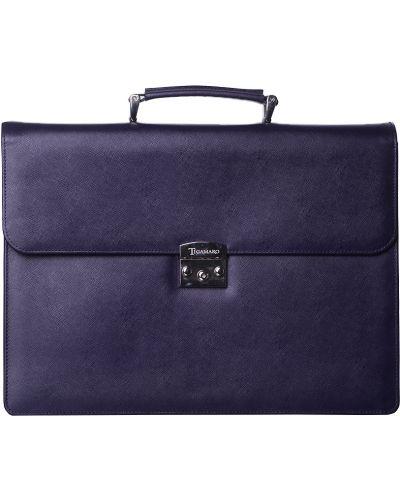 Кожаный портфель - фиолетовый Tigamaro