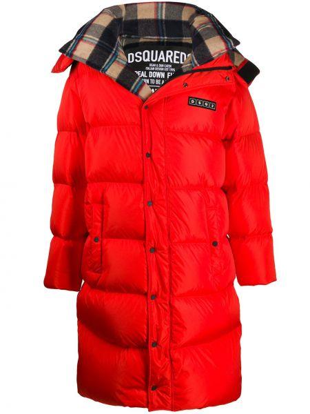 Bawełna prosto wełniany długi płaszcz z długimi rękawami Dsquared2