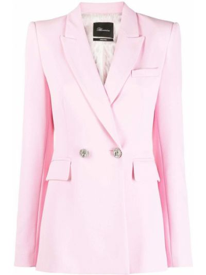 Розовый удлиненный пиджак двубортный с карманами Blumarine