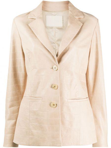 Однобортный кожаный пиджак с карманами Drome