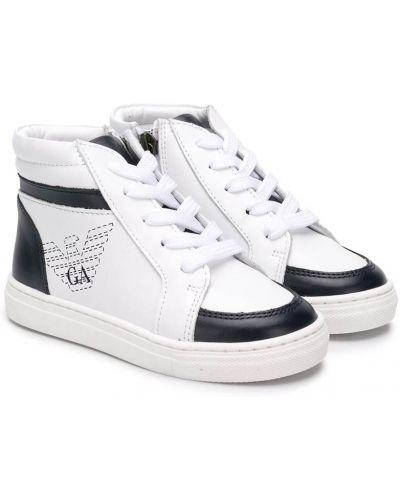 Кожаные белые хайтопы со вставками на шнуровке Emporio Armani Kids