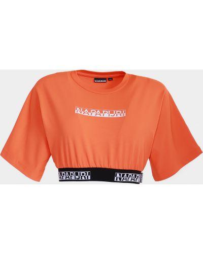Оранжевая короткая футболка с вырезом Napapijri