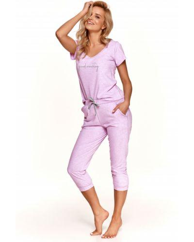 Хлопковая розовая пижама с брюками с карманами Taro