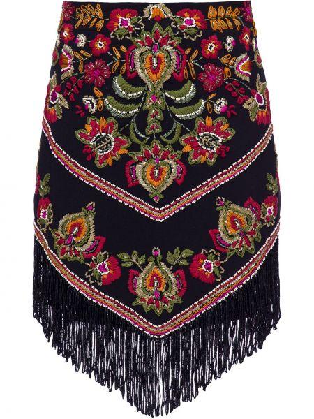 Markowe czarny spódnica mini z wiskozy z haftem Patbo