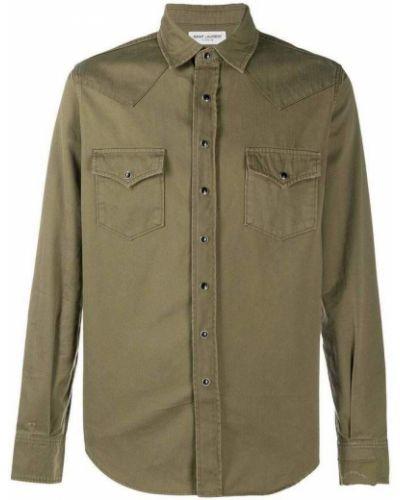 Koszula z długimi rękawami - zielona Saint Laurent