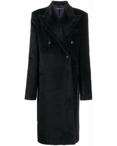 Прямое синее шерстяное длинное пальто Y/project