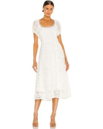 Деловое кружевное белое платье миди Elliatt