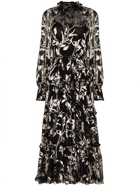 Черное шелковое платье макси с оборками Zimmermann