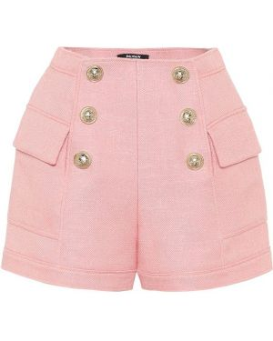 Однобортные розовые теплые короткие шорты Balmain