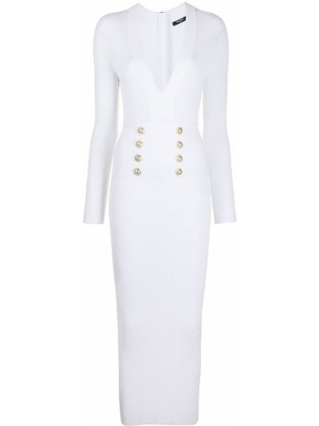 Biała sukienka midi z długimi rękawami bawełniana Balmain