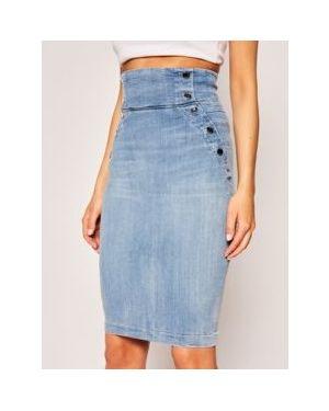Niebieska spódnica ołówkowa bawełniana Guess