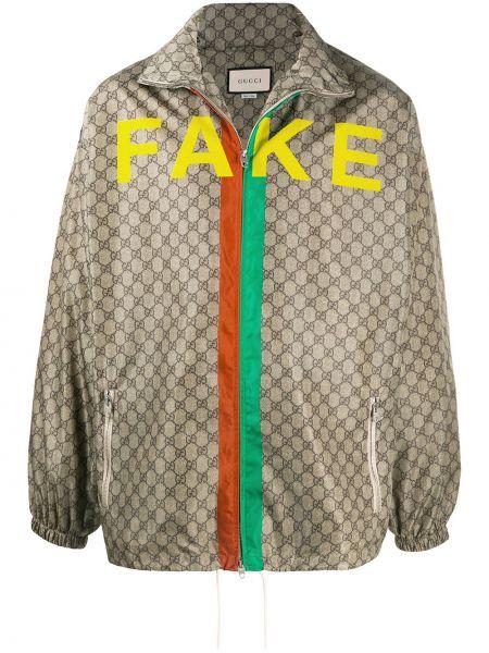 Beżowy długa kurtka z kieszeniami z długimi rękawami z płótna Gucci