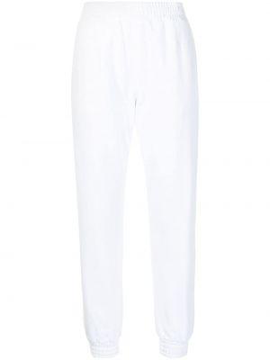 Białe spodnie bawełniane z haftem Rta