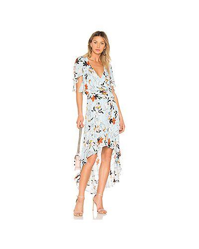 Платье с поясом голубой шелковое Parker