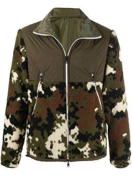 Akryl zielony długa kurtka z kieszeniami z długimi rękawami Moncler
