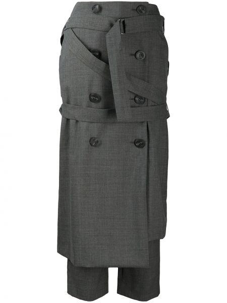 Wełniany spodni asymetryczny spódnica ołówkowa z paskiem Enfold