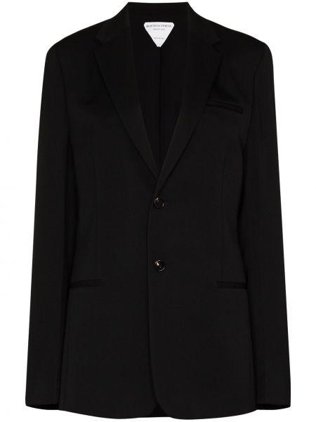 Однобортный черный удлиненный пиджак с карманами Bottega Veneta