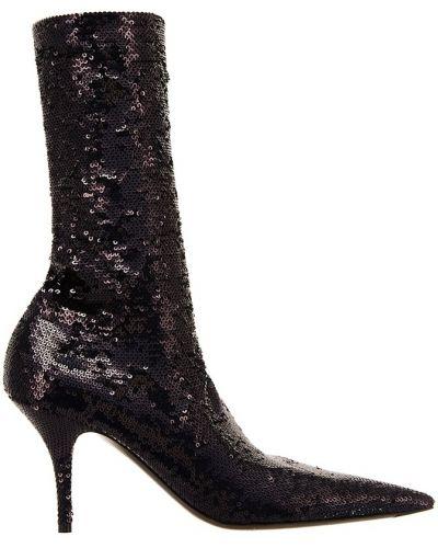 Кожаные сапоги с острым носком с вышивкой Balenciaga
