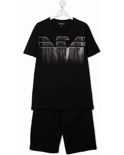 Czarny dres bawełniany Emporio Armani Kids