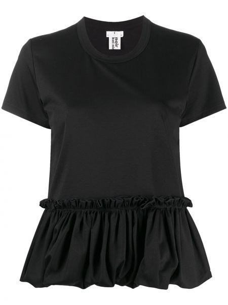 Хлопковая черная прямая рубашка с коротким рукавом с короткими рукавами Comme Des Garçons Noir Kei Ninomiya