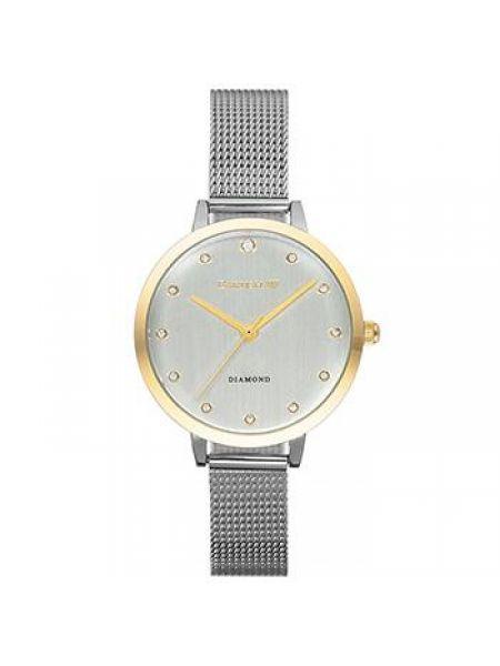 Со стрелками серые кварцевые часы круглые с бриллиантом Earnshaw