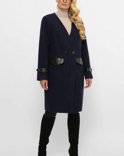 Шерстяное пальто - синее Tatiana