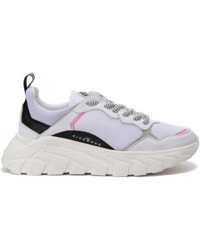 Кожаные белые кроссовки на шнуровке John Richmond