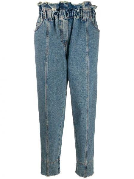 Хлопковые синие джинсы со вставками эластичные Philosophy Di Lorenzo Serafini