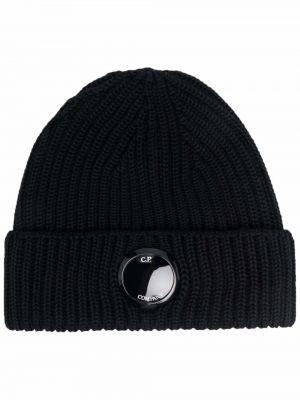 Черная шапка в рубчик C.p. Company