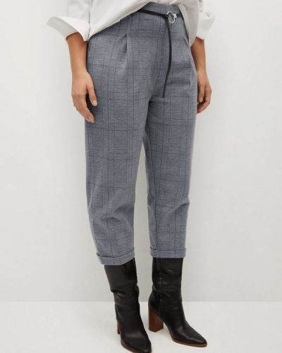 Серые зауженные брюки Violeta By Mango