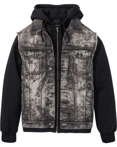 Джинсовая куртка с капюшоном черная Bonprix