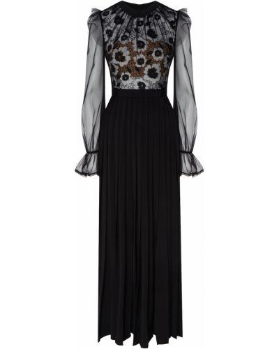 Вечернее платье с цветочным принтом с прозрачными рукавами Self-portrait