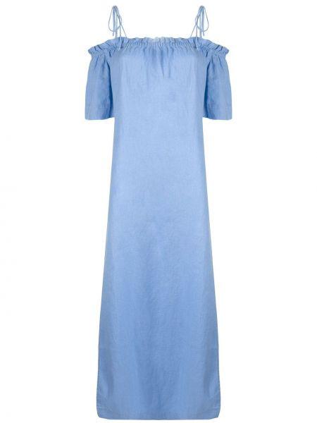 Свободное льняное платье мини свободного кроя с вырезом Venroy