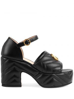 Sandały skórzane - czarne Gucci