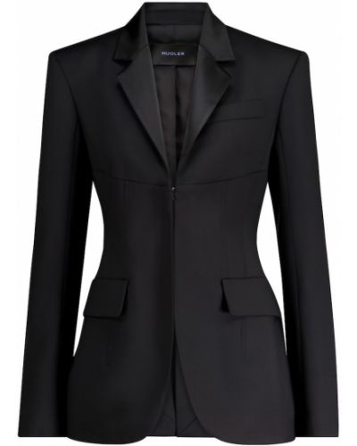 Шерстяной черный пиджак Mugler