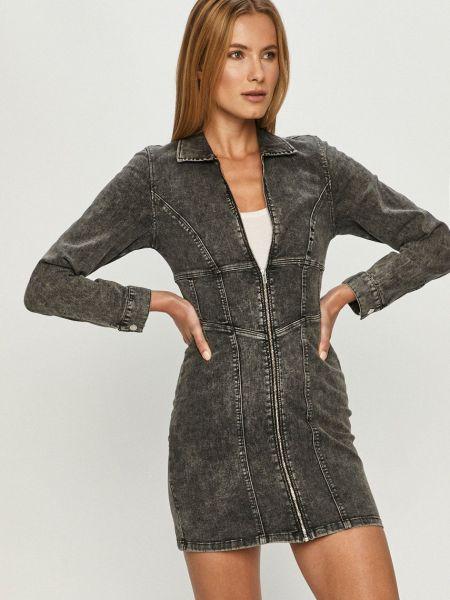 Серое джинсовое платье с длинными рукавами с воротником Tally Weijl