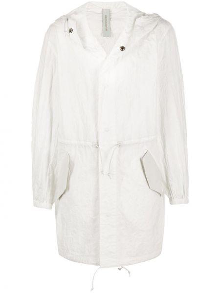 Biały płaszcz z kapturem skórzany Giorgio Brato