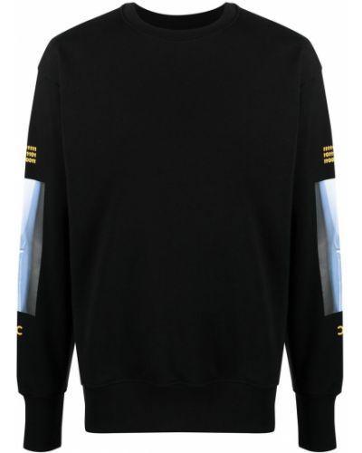 Czarny długi sweter bawełniany z długimi rękawami Omc