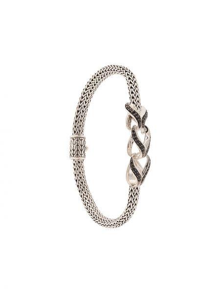 Klasyczna czarna szeroki bransoletka srebrna John Hardy
