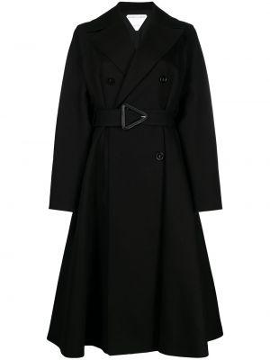 Czarny długi płaszcz skórzany z długimi rękawami Bottega Veneta