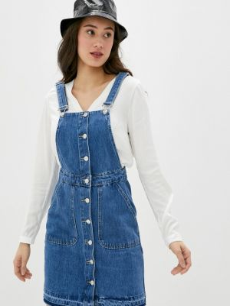 Джинсовое платье синее весеннее Defacto