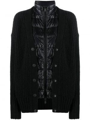 Czarna długa kurtka wełniana z długimi rękawami Moncler Grenoble