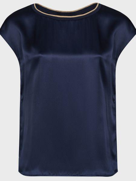 Синяя шелковая блузка Luisa Spagnoli