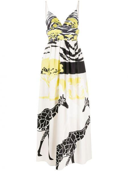 Белое платье макси с V-образным вырезом без рукавов на молнии Sara Roka