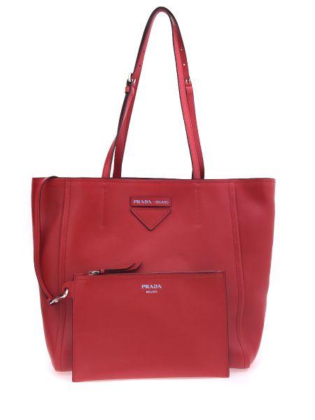 Тонкая красная сумка-тоут прямоугольная без застежки Prada