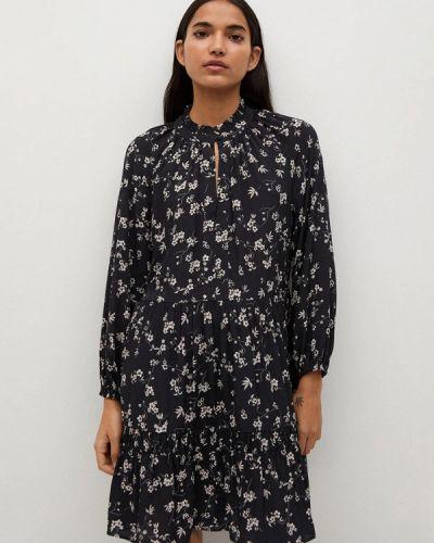 Прямое черное платье А-силуэта Mango
