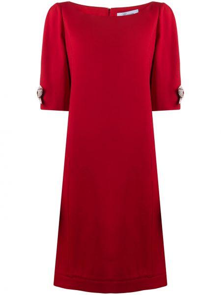 Красное платье миди с бантом с вырезом на молнии Blumarine