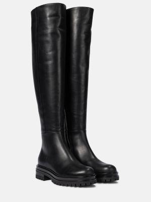 Черные сапоги из натуральной кожи до середины колена Gianvito Rossi