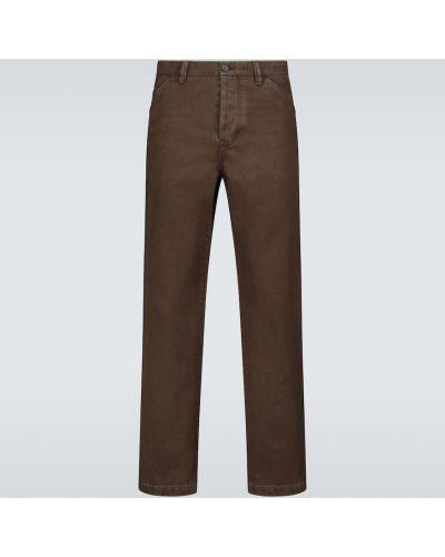 Z wysokim stanem brązowy bawełna prosto spodnie o prostym kroju Acne Studios